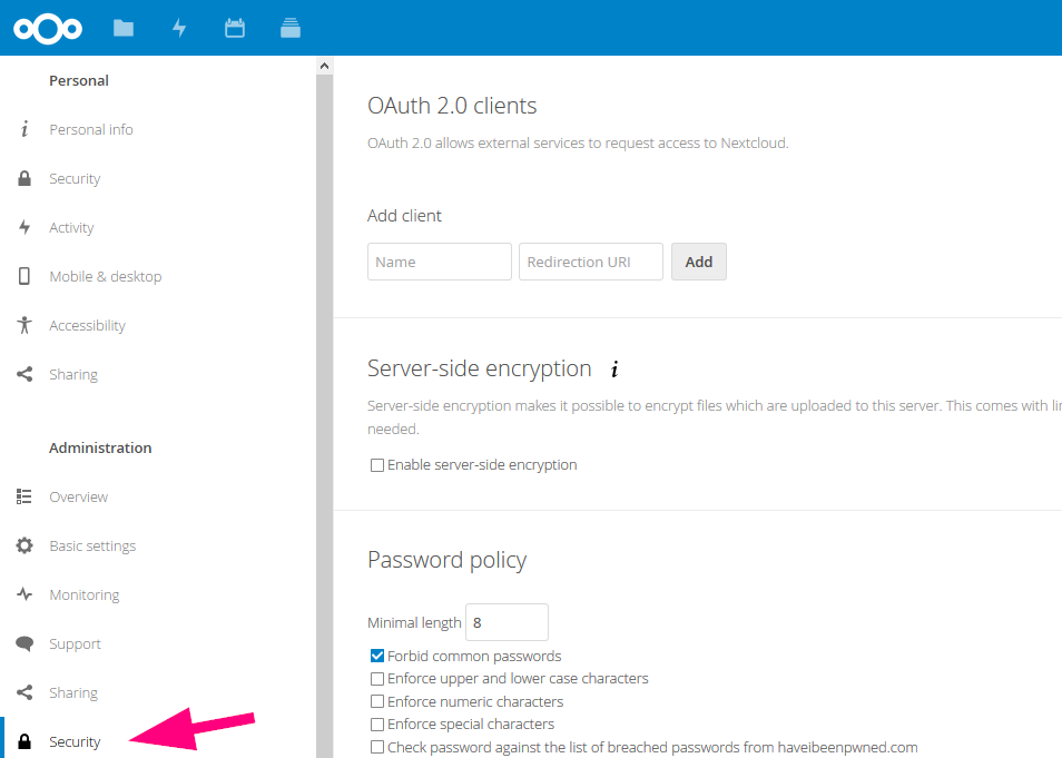 Where to find OAuth2 in Nextcloud